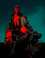 Hellboy on Gargoyle by SpicerColor