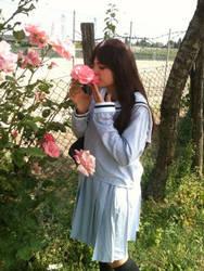 Hiyori Iki and the rose ( Noragami ) by tsukinomai90