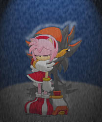Shadow and Amy in the rain by Tigerfog