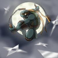 Michelangelo vs shurikens by Tigerfog