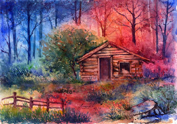 Log Cabin in the woods. by AnnaArmona
