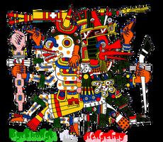 Glifo Mictlantecutli y Quetzalcoatl by PrincessShadyk