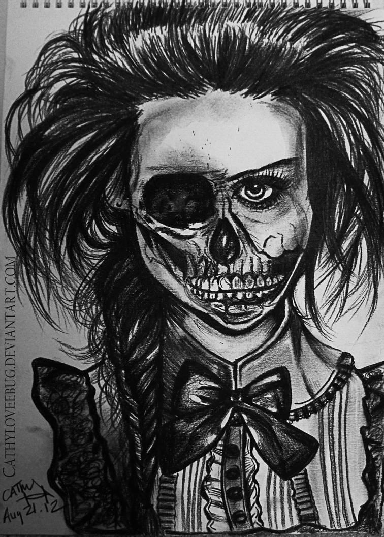 Half Skull Half Girl Portrait By Cathyloveebug On Deviantart
