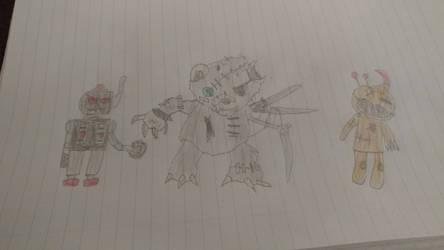 OCs: Terror-Bot, Scissors and Stitch Mouth by Mickmick108