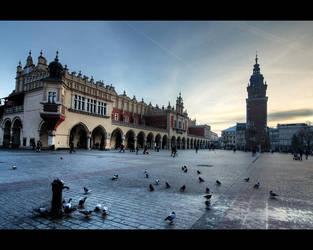 Krakow's Rynek Glowny Grand Square, dusk. by pmd1138