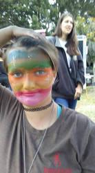 rainbow face paint by funfacesballoon