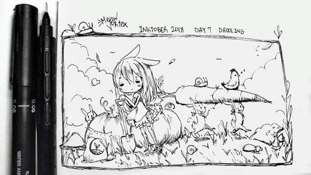 Inktober Day 7 exhausted by Meow-Vortex