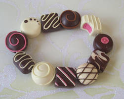 Pink chocolate bracelet by PORGEcreations