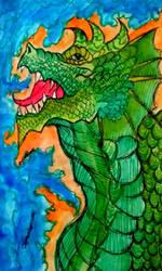 Green Dragon Watercolor by DRAGONHATAKE
