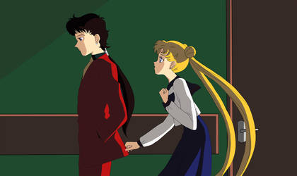 Usagi and Seiya by katewind