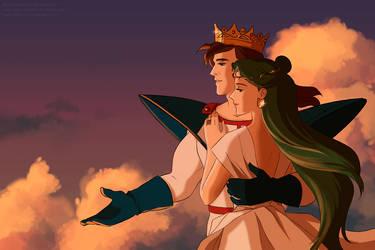 Setsuna and Lornd by katewind