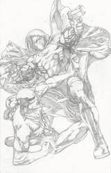 Moon Knight vs Iron Fist pencils by Ace-Continuado