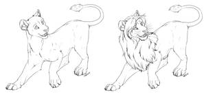 lioness-lion free lineart by AFrozenHeart