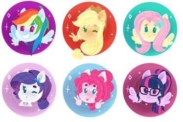 YCH - Equestria Girls chibi head shot icon by WhalePornoz