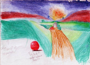 Crayon landscape by kittyminorin