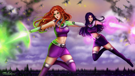 Starfire and Blackfire giantess (commission) by ChibiYvi