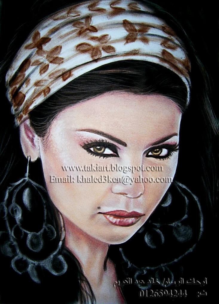 Portrait Drawing Painting Haifa Wehbe By Portraitkhaled On Deviantart