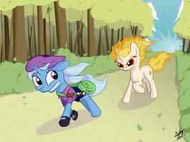 Trainer Trixie and Rapitwi by bigfatal21