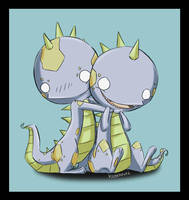 Twin Dinos by kidbrainer