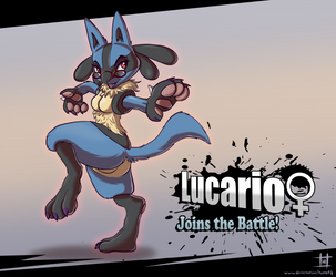 Lucario (female) - Joins the Battle! by HyenaTig