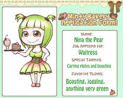 Bakery Application Form - Waitress by alittleofsomething