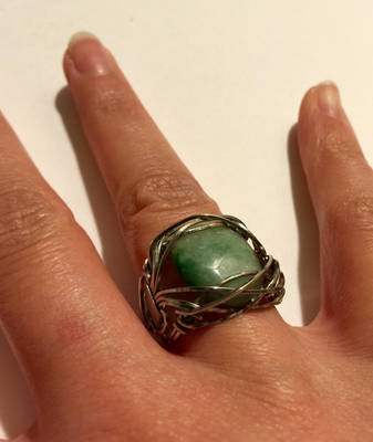 Fancy Wire Wrap Aventurine Cabochon Ring 2 by KMCJewelryDesigns