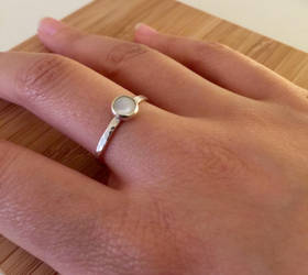 Silver Dappled Ring with Moonstone by KMCJewelryDesigns