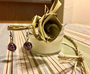 Purple Wire Wrap Earrings by KMCJewelryDesigns