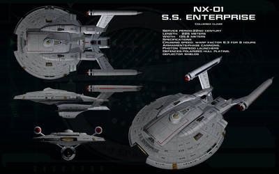 Columbia class (NX refit) ortho - SS Enterprise by unusualsuspex