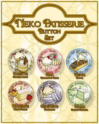 Neko Patisserie Button Set by SewDesuNe