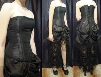 Custom order skirt + corset by azdaja