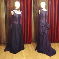 Purple bustle gown by azdaja