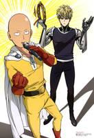 One Punch Man - Saitama Genos Artwork HD by corphish2