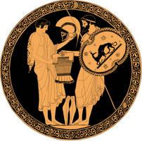 Greek vases Tow Solders, Odysseus and Neoptolemos by Brightstone