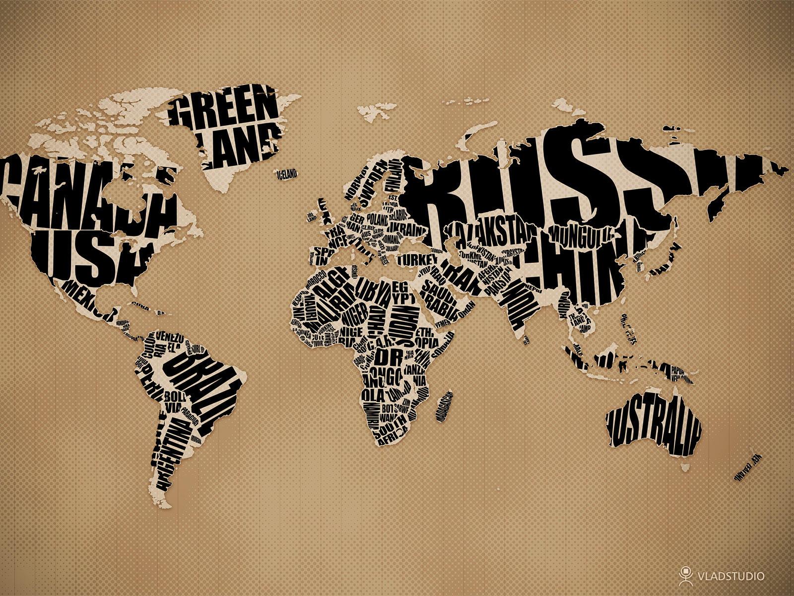 Typographic World Map by vladstudio