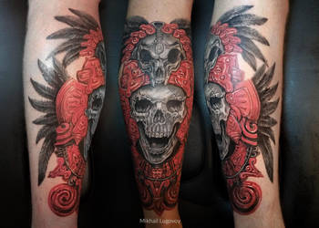 aztec skull tattoo by borodau4