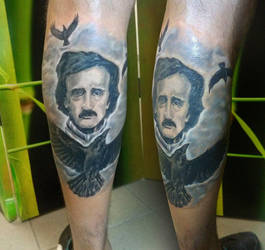 Allan Poe Tattoo by borodau4