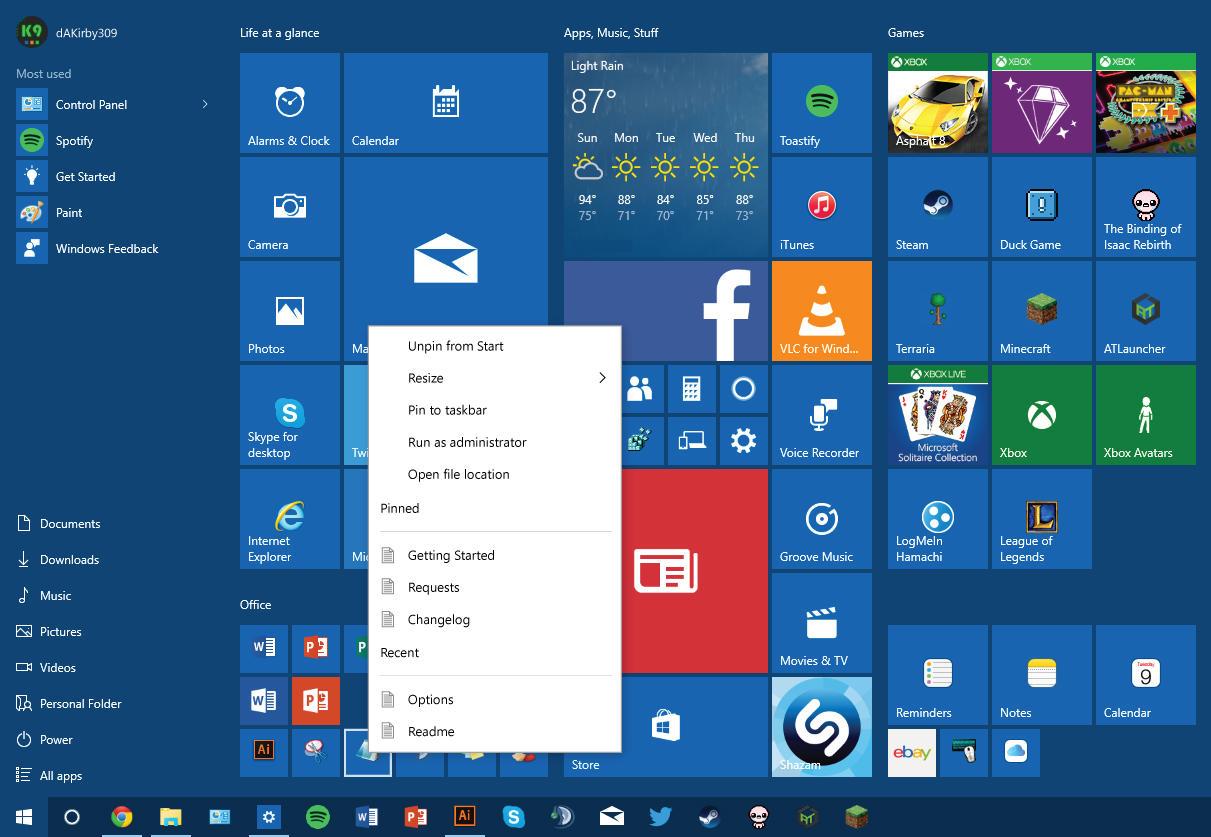 Windows 10 Start Menu Jumplist Concept by dAKirby309