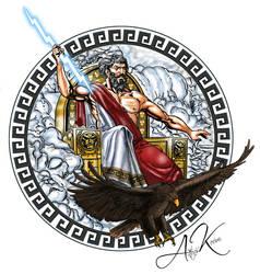 Mighty Zeus tattoo with meander by akoyma