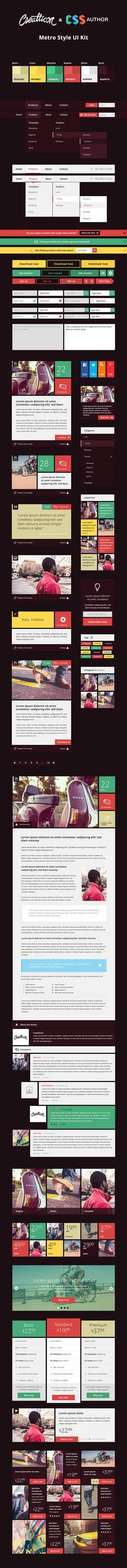 FREEBIE: Flat Metro Style UI Kit on CSS Author by creatticon