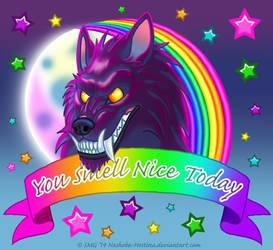 You Smell Nice Today -Lisa Frank style Werewolf by Nashoba-Hostina
