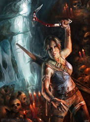 Tomb Raider Painting by stevegoad