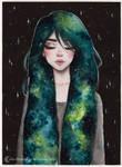 Day11 Inktober- Galaxy hair series 3/4 by ARiA-Illustration