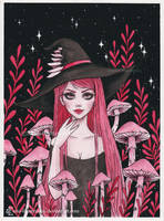 Poisonous Mushroom witch- Day8 Inktober18 by ARiA-Illustration