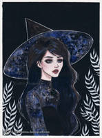 Blue galaxy witch- Day 10 Inktober18 by ARiA-Illustration