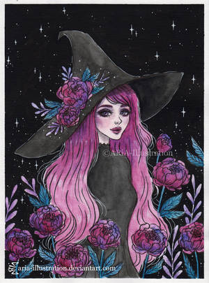 Magical Peony witch- Day 23 Inktober18 by ARiA-Illustration