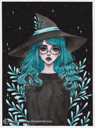 Aquamarine witch- Day 21 Inktober18 by ARiA-Illustration