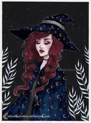 Moon witch Day 15 Inktober18 by ARiA-Illustration