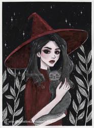 Feline Familiar- Day 26. Inktober18 by ARiA-Illustration