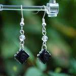 Black Sparkle Lego Earrings by forteallegretto